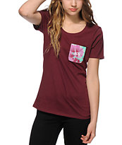Sirens & Dolls Swirl Tie Tye Scoop Neck Pocket T-Shirt