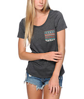 Sirens & Dolls Teal Tribal Pocket Charcoal Scoop Neck Tee Shirt