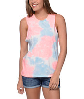 Sirens & Dolls Watercolor Blue & Coral Muscle Tee Shirt