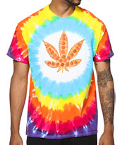 Skate Mental Pizza Leaf Tie Dye Tee Shirt