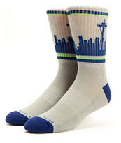Skyline Seattle Grey, Blue, & Green Crew Socks