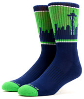 Skyline Seattle Navy & Green Crew Socks