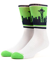 Skyline Seattle White, Green, & Blue Crew Socks