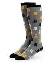 Sock It To Me Winking Cat Grey Girls Knee Socks