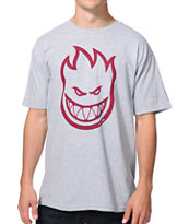 Spitfire Bighead Heather Grey & Burgundy Tee Shirt