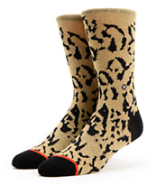 Stance Girls Cheetah Tan & Black Crew Socks