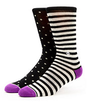 Stance Girls Dotted Lines Purple & Black Crew Socks