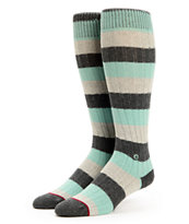 Stance Girls Get In Line Mint & Charcoal Stripe Knee Socks