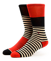 Stance Girls Maddie Black & Red Stripe Crew Socks