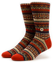 Stance Moorland Navy & Red Crew Socks