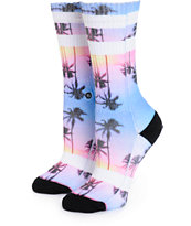 Stance Purple Night Palm Tree Crew Socks