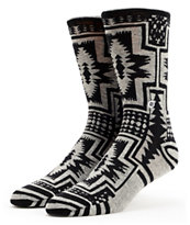Stance Santiago Black & Grey Native Print Crew Socks