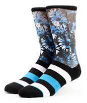 Stance Toner Black & Blue Hawaiian Print Crew Socks
