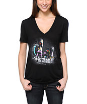 Starling 2 Horses Black V-Neck Tee Shirt