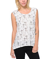 Starling Allover Cross White Muscle Tee Shirt