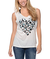 Starling Cheetah Heart White Muscle Tank Top