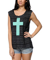 Starling Cross Black Tribal Print Muscle Tee Shirt