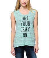 Starling Get Your Cray On Mint Tribal Print Muscle Tee Shirt