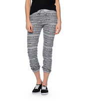 Starling Grey & Black Tribal Print Jogger Pants