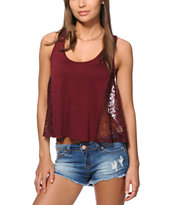 Starling Lace Button Back Blackberry Tank Top