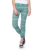 Starling Mint & Black Tribal Print Sweat Pants