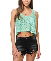 Starling Mint Lace Crop Tank Top