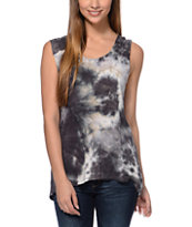 Starling Slashed Back Black Tie Dye Muscle Tee Shirt