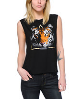 Starling Tiger Triangle Black Muscle T-Shirt