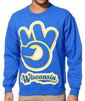 State Of Mind WI Hand Sign Blue Crew Neck Sweatshirt