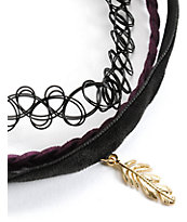 Stone + Locket Braid & Feather Multipack Choker Necklaces