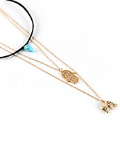 Stone + Locket Elephant Stone Layered Necklace