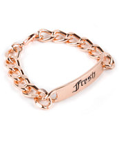 Stone + Locket Fresh Old English Rose Gold ID Bracelet