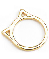 Stone + Locket Gold Cat Ears Ring