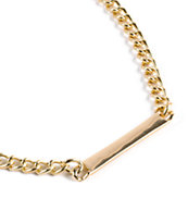 Stone + Locket Gold ID Bar Necklace