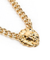 Stone + Locket Lion Head Gold Chain Necklace