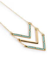Stone + Locket Mint & Gold Chevron Necklace