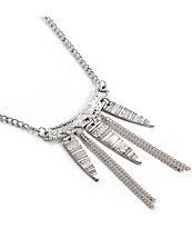 Stone + Locket Silver Tribal Etch Spike Necklace