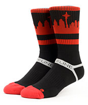 Strideline Classic SeaTown Red, Black, & White Crew Socks