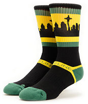 Strideline SeaTown Black, Green & Yellow Crew Socks