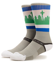 Strideline SeaTown Hawks Throwback Grey & Green Crew Socks