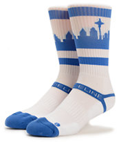 Strideline SeaTown White & Blue Crew Socks