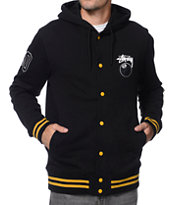 Stussy 8 Ball Black Hooded Varsity Jacket