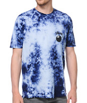 Stussy 8 Ball Blue and Black Tie Dye Tee Shirt