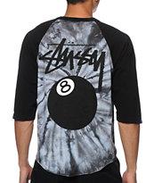 Stussy 8 Ball Spiral Tie Dye Baseball T-Shirt