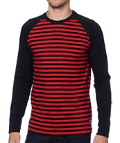 Stussy Baseball Stripe Red Long Sleeve Knit Shirt