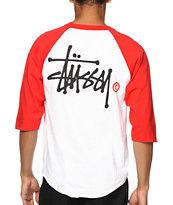 Stussy Basic Logo Baseball T-Shirt