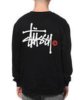 Stussy Basic Logo Black Crew Neck Sweatshirt
