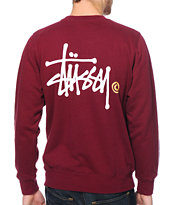 Stussy Basic Logo Burgundy Crew Neck Sweatshirt