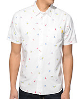 Stussy Birds White Short Sleeve Button Up Shirt