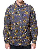 Stussy Brass Navy Long Sleeve Button Up Shirt